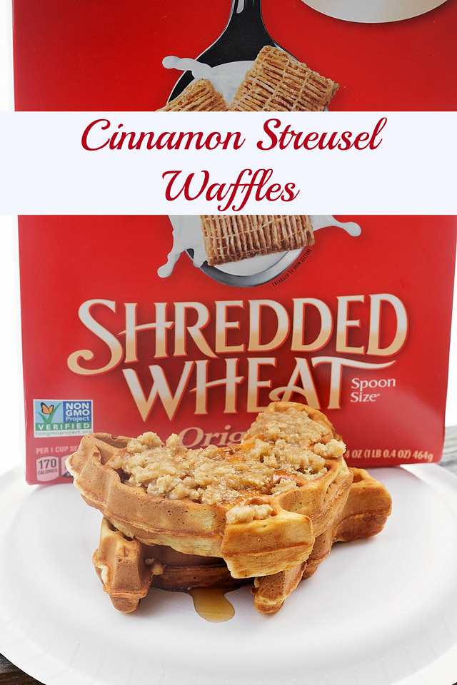 You've never had Cinnamon Streusel Waffles like this! Think coffee cake crumble over waffles with texture and flavor! #SpoonfulsOfGoodness #CerealAnytime #ad
