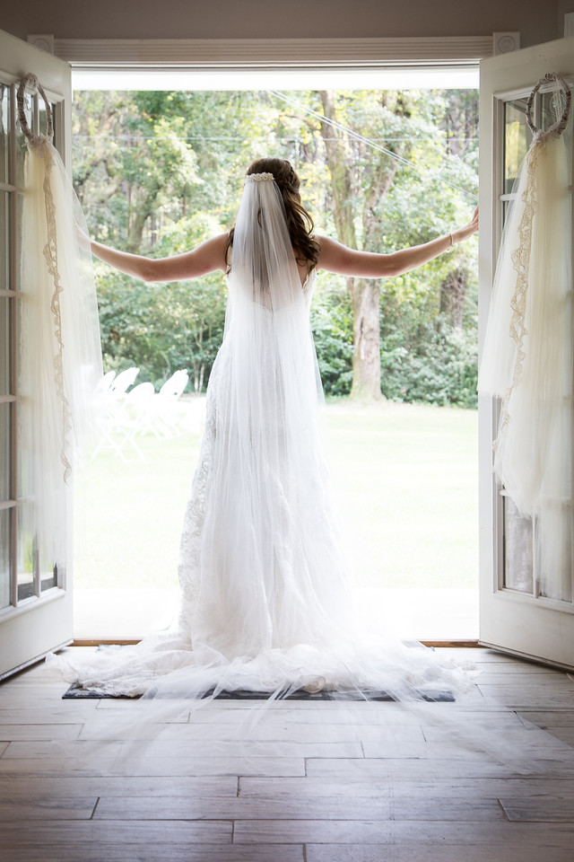 Photographed in September.  The bride reviewing the venue before the big event.
