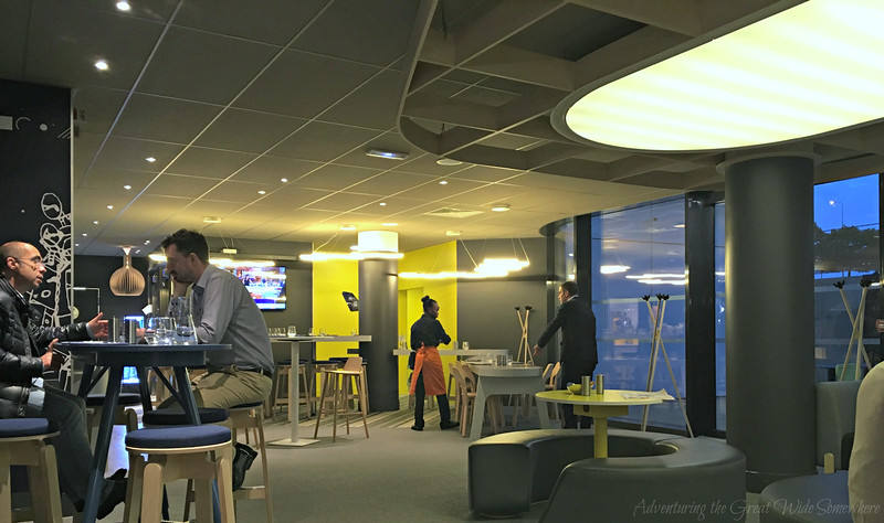 The dining area at the Hotel Ibis Styles CDG, Paris.