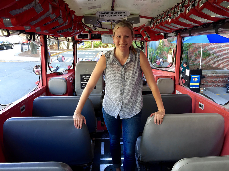 Brianne Miers on a Boston Duck Tour boat