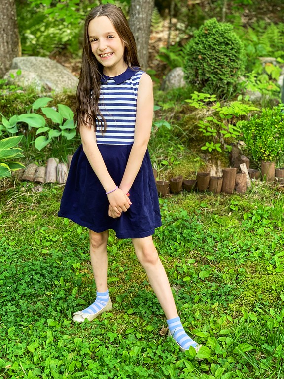 Miss B Trend Setter Navy Striped Sleeveless Dress styling company subscription box