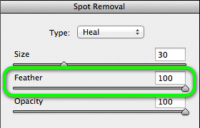 Spot removal feathering option