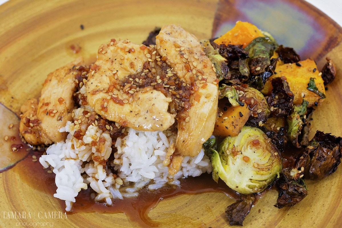 Honey Teriyaki Chicken With Squash and Brussels Sprouts