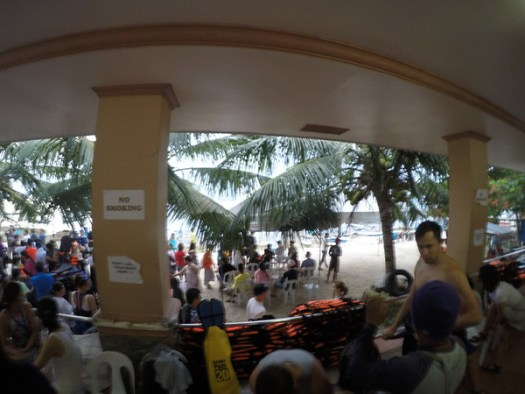 The early morning chaotic scene in the Whale Shark Visitor Centre