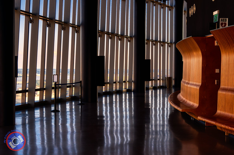 The Wooden Bench and Gallery that Encircles the Observation Deck at Central place, Arlington (©simon@myeclecticimages.com)