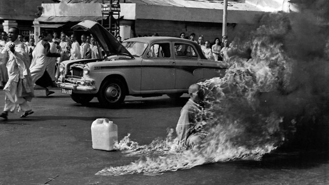 This is the original image of the self immolation of a monk at a Saigon intersection in the 1960's.