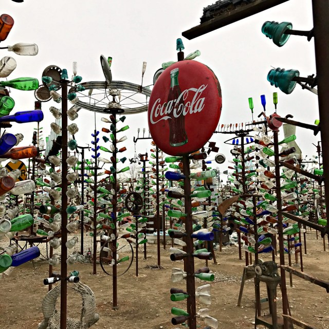 Coca-Cola sign at the Bottle Tree Ranch in California on a motorcycle road trip of route 66
