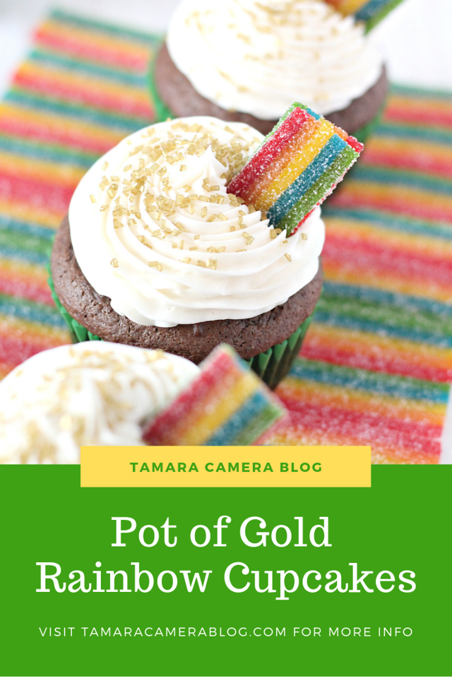 I love everything rainbow and I love to celebrate St. Patrick's Day with my kids. Pot of Gold Rainbow Cupcakes are perfect for family fun and class parties!