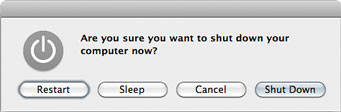 A normal Shut Down dialog box