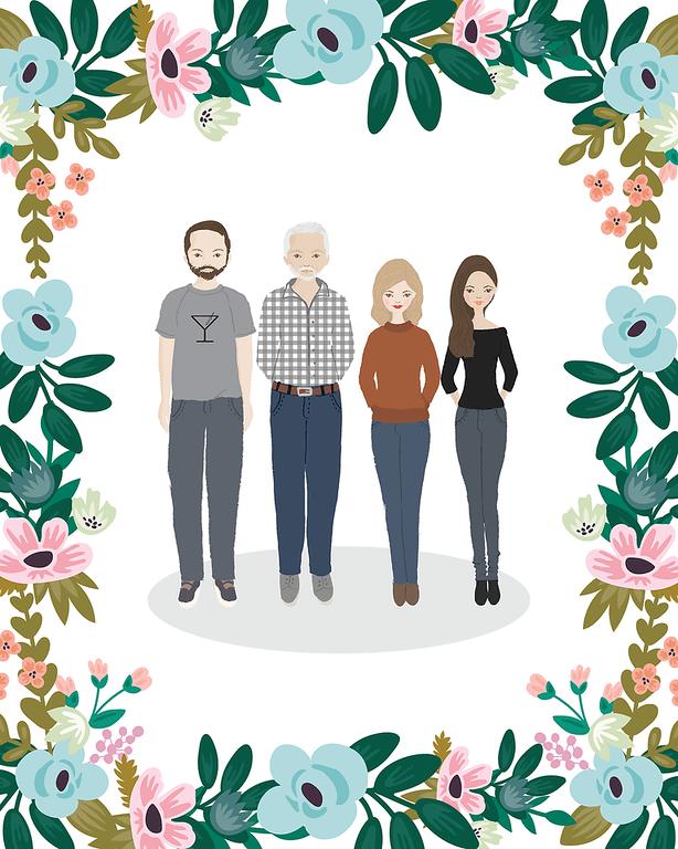 customized family illustration gift