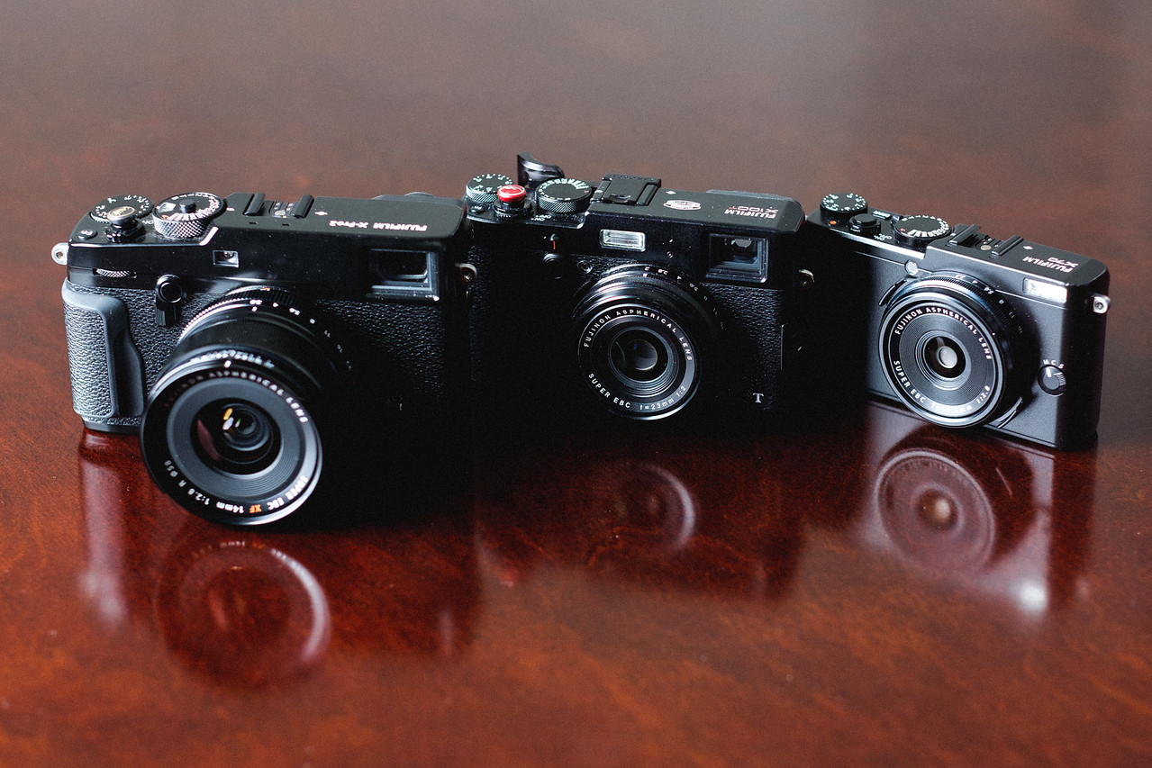 Fujifilm X70 vs X100T size comparison
