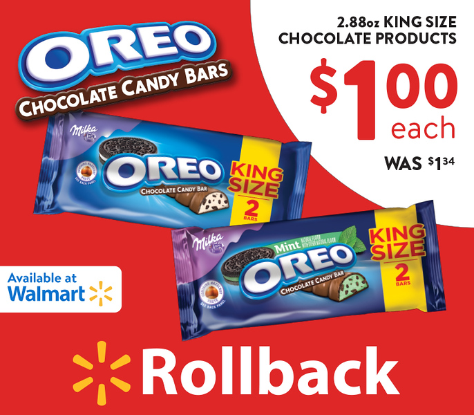 Giveaway time!! Not only are OREO Chocolate King Size Candy Bars on Rollback at Walmart, but you can enter here to win either a $200 Walmart Gift Card Grand Prize or one of 6 $50 Walmart Gift Card Prize Winners! #ad #OREOChocolate #KingSizeRollBack #Walmart #IC