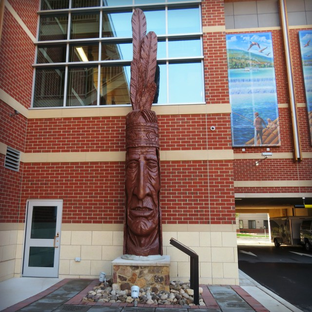Whispering Giant Chief Woapalanne in Williamsport, PA at the bus depot