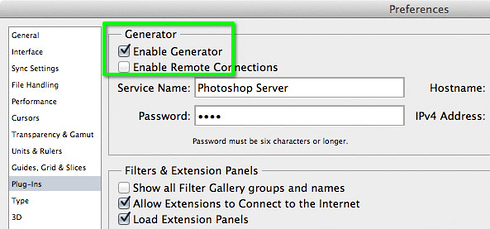 Photoshop CC Plug-ins preferences