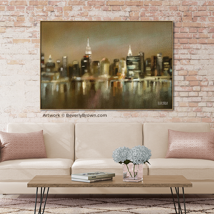 New York Skyline Painting Earth Tone Framed Canvas Wall Art in pink living room - Beverly Brown