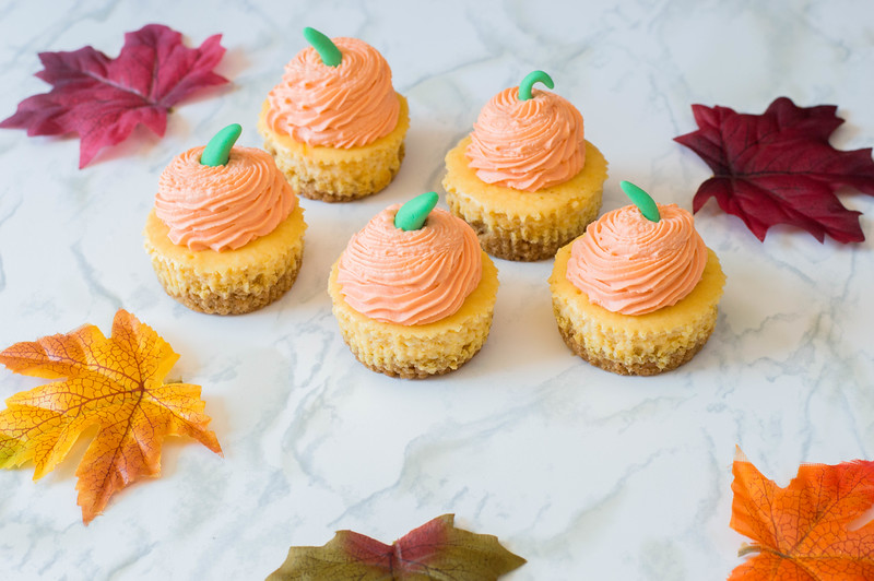 Pumpkin Cheesecake Minis are an incredible recipe for Halloween and Thanksgiving. Make them as an alternative to pumpkin pie or for the kids' table! #recipe