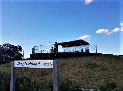 Viewing platform on a hill, signs read'd Shep's Mound