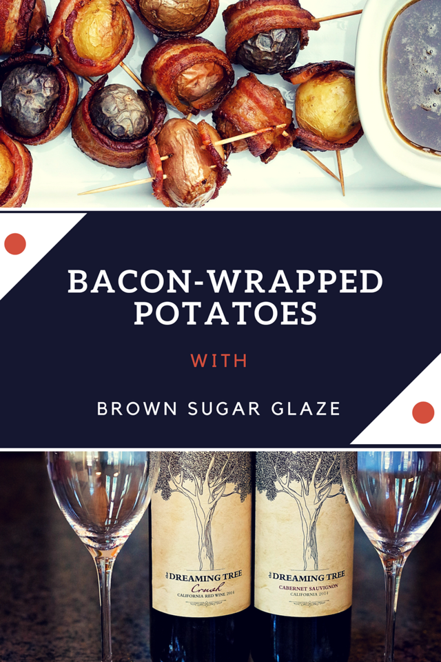 These bacon-wrapped potatoes are delicious, straight from our garden (well, the potatoes) and perfect with The Dreaming Tree. #ad #ShareWineandBites #recipe