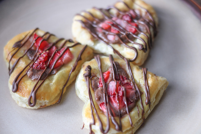 Our favorite Valentine Breakfast: Mini Chocolate Covered Strawberry Cream Cheese Danishes are delicious and perfect for your sweetheart or family breakfast!