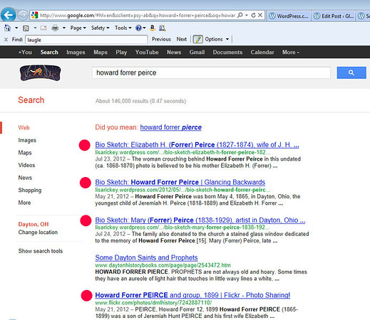 Google search for Howard Forrer Peirce