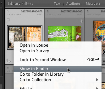 Lightroom - Show in Finder command