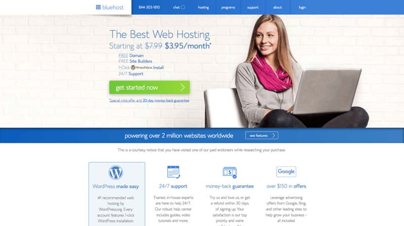 Starting a Travel Blog - Bluehost home page
