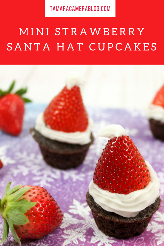 These Mini Strawberry Santa Hat Cupcakes are fun and festive. The perfect easy holiday recipe to do on Christmas Eve or Christmas Eve Eve. So get in the kitchen and make this delight!