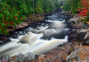 Rushing River in a mist with Fall Colors - Rawdon