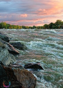 River at Sunset with Fall Colors