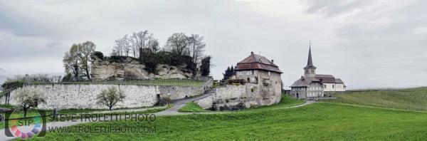 Steve Troletti Editorial, Nature and Wildlife Photographer: Fribourg, Switzerland &emdash; Les ruines de l'ancien château de Font et l'église de Font de Saint-Sulpice