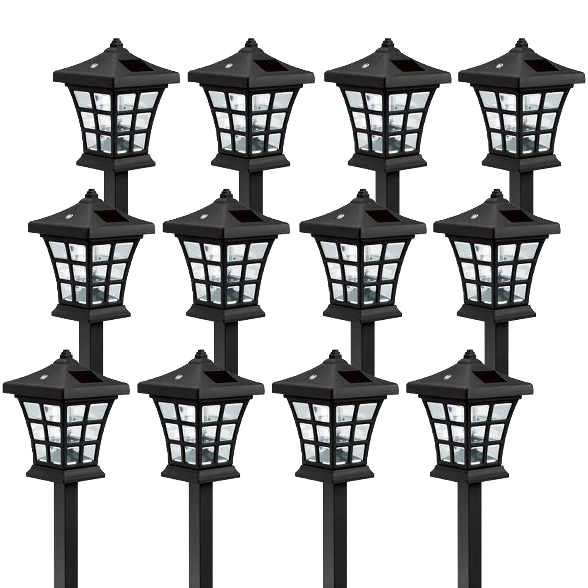 12 Pack Westinghouse Venture Black Solar Outdoor Garden