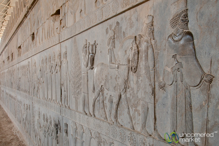 Persepolis eastern staircase leading to Apadana Palace, all 23 subject nations represented.