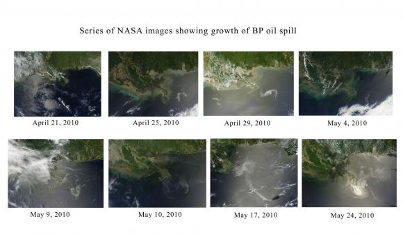 May 24, 2010: Time lapse aerial shots of spreading oil