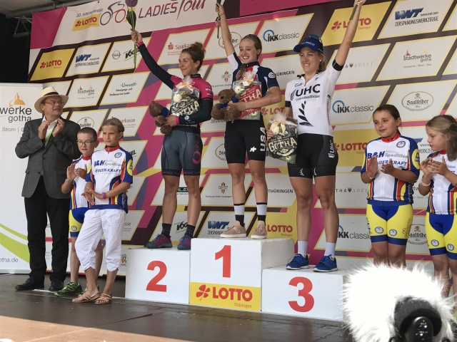 Skylar Schneider on the top step after winning the final stage of the Internationale LOTTO Thuringen Ladies Tour