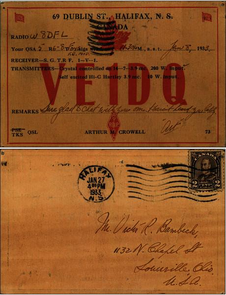 VE1DQ QSL Card