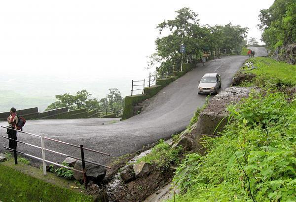 Hairpin bend on curving road