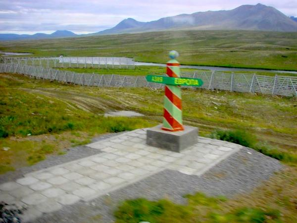 a monument on the border between Europe and Asia  Polar Ural mountains