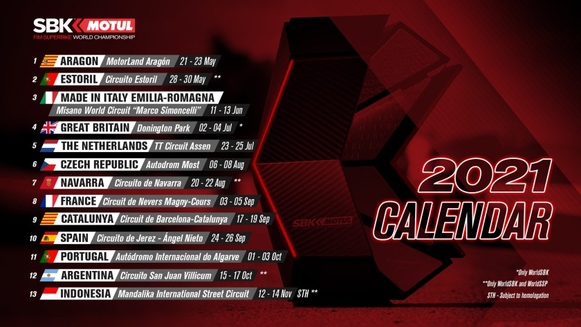 Superbike Calendario 2021