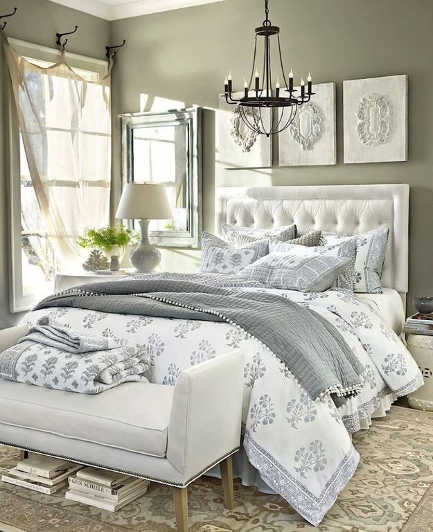 Traditional Master Bedroom With High Ceiling Chandelier Ballard Design Ava Block Print Bedding