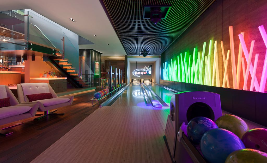 If you have a game room or recreation area in your home, it's important to have good lighting. Contemporary Game Room with Bowling alley by Lamont DuBose ...
