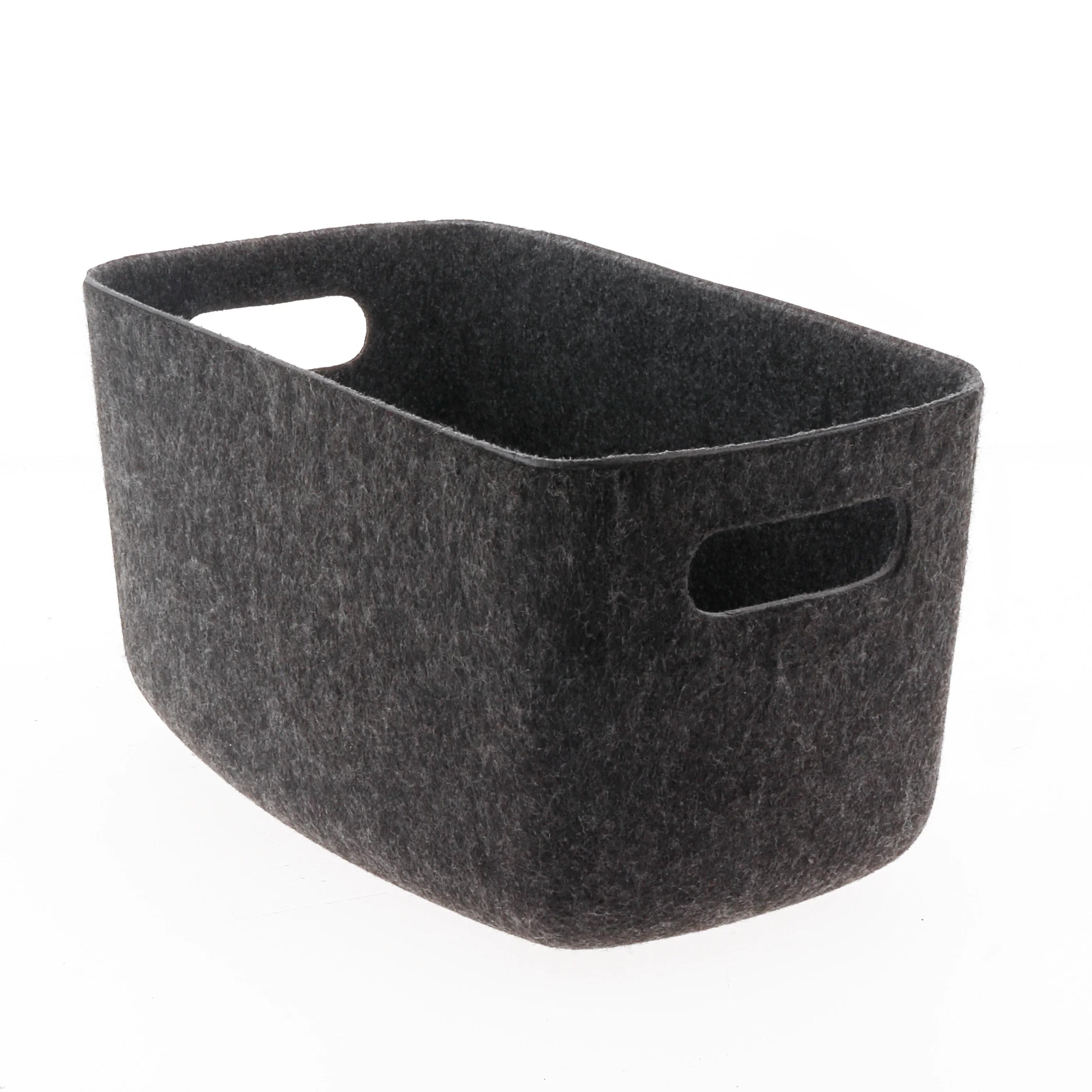 panier de rangement en feutrine gris fonce 32x22x15cm
