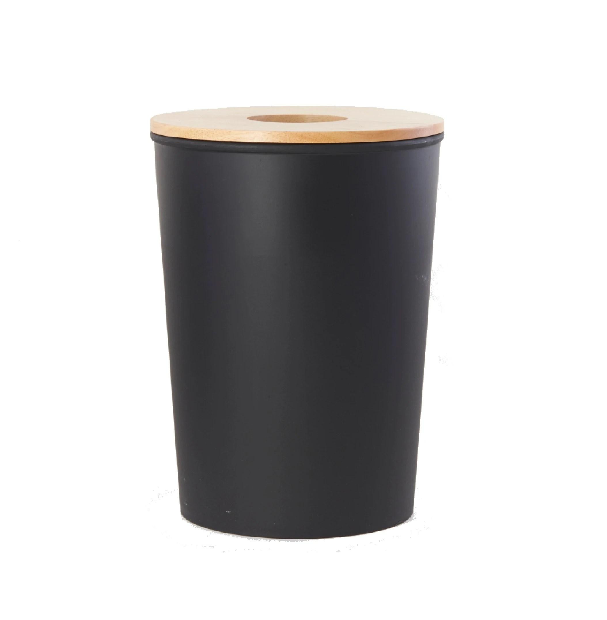 poubelle de salle de bain noire 7l avec couvercle en bois