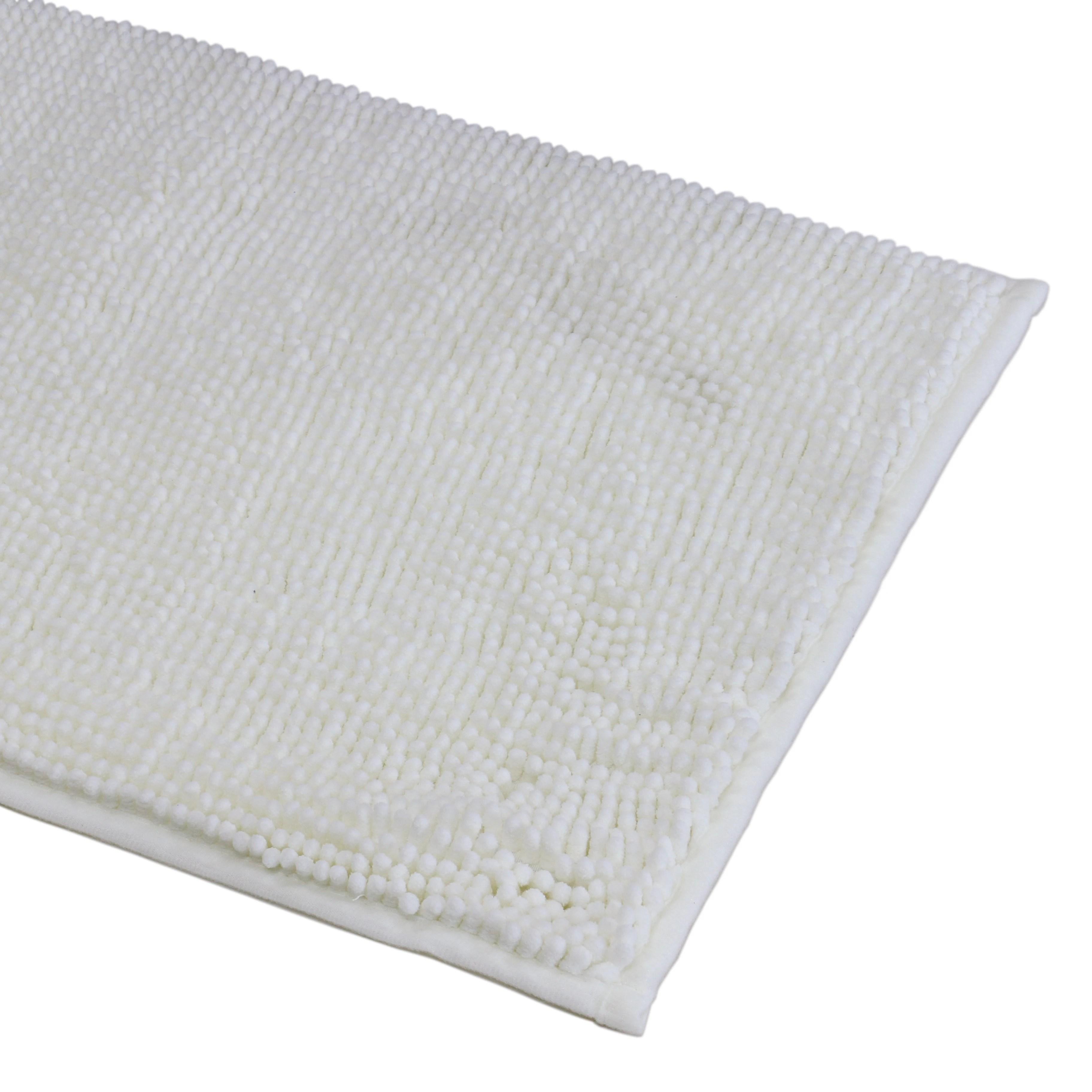 tapis de bain 40x60cm en microfibre chenille blanc