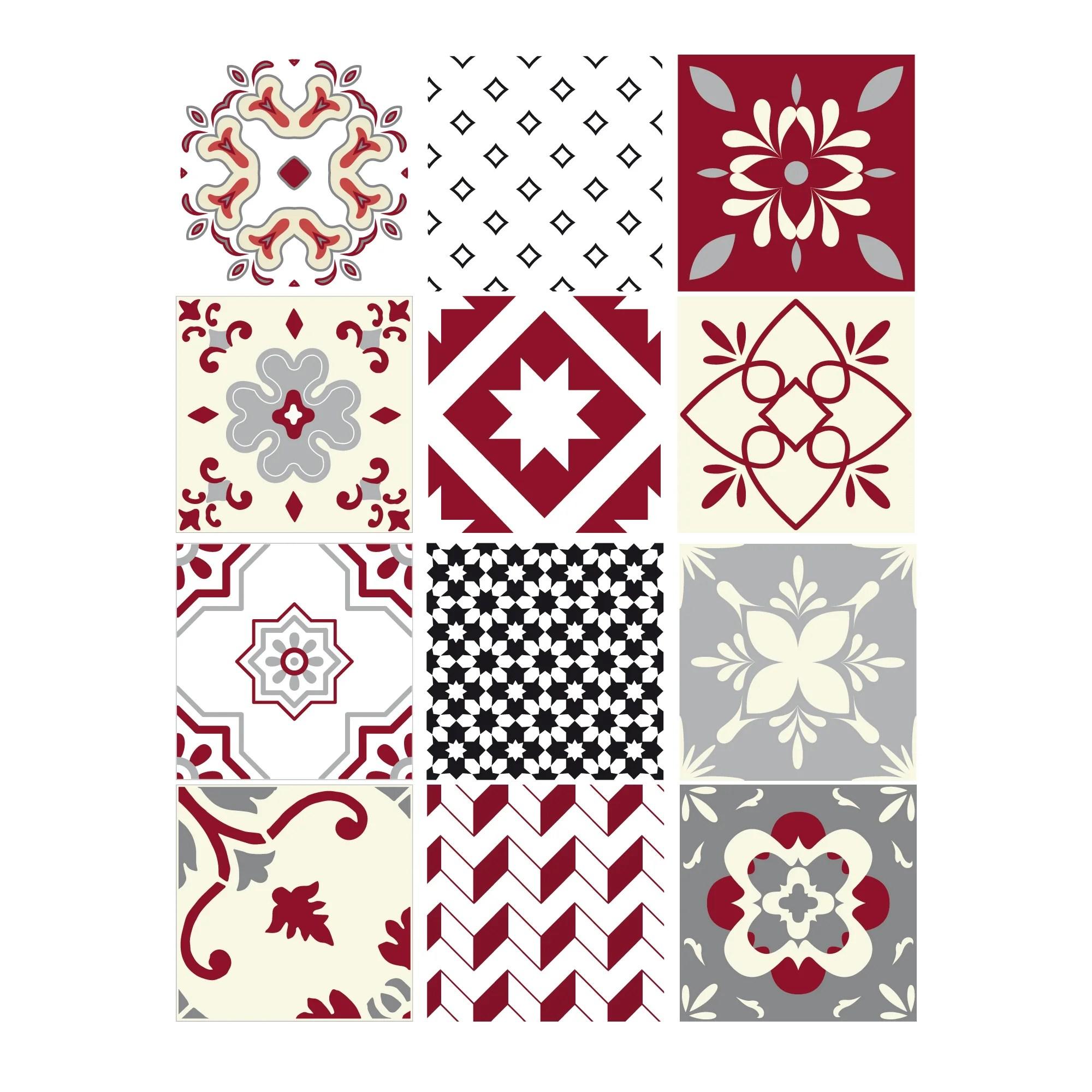 lot 12 stickers carreaux ciment rouge 15x15cm