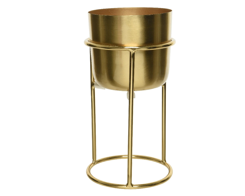 cache pot sur support en fer dore 22 cm