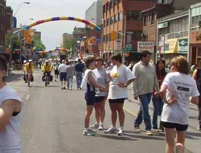 street scene after Pride and Remembrance 5k run, Toronto, 2004