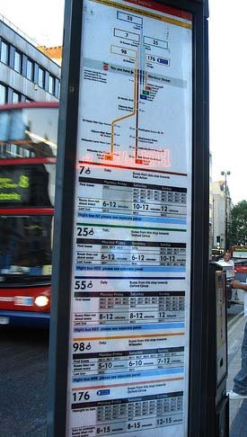 Bus stop signage in London. Image courtesy of KL Commuter.