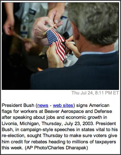 Did George <b>Bush</b> deface American <b>flags</b>?