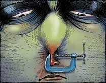 A coloured painting of a miserable face with a swollen nose and red inflamed nostrils.  The nose is clamped shut by a carpentry clamp.