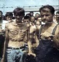 Photo: Bosniak civilians in Serb-run Omarska Concentration Camp